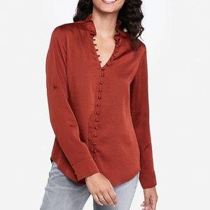 NWT Satin Ruffle Collar Portofino Shirt